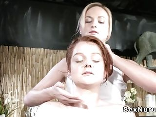 Blonde Masseuse Calming Pallid Ginger-haired